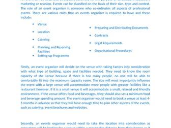 BTEC Business Level 3: Unit 4 - Managing an Event (Distinction*) - Assignment 1