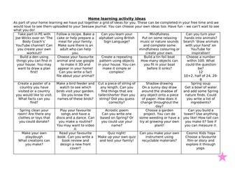 Home Learning Grid