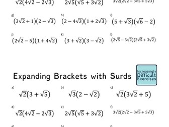Increasingly Difficult Questions - Expanding Brackets with Surds