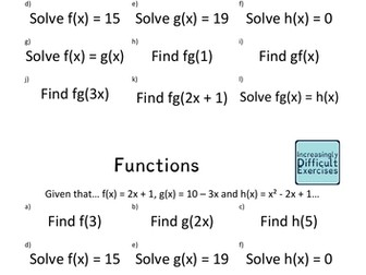 Increasingly Difficult Questions - Functions
