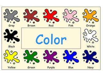 ESL Colorful color / colour Poster, Worksheet, label set, PYP Language, Art