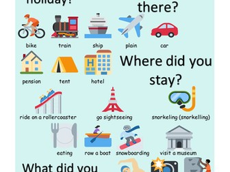ESL Colorful travel holiday vocabulary word mat