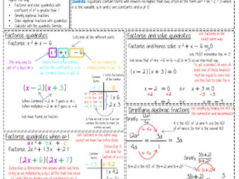 Maths Knowledge Organiser - Quadratics and Algebraic Fractions
