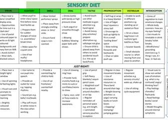 Sensory diet