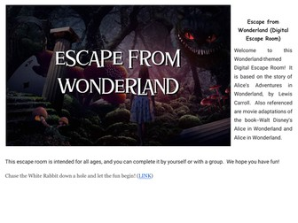 Escape from Wonderland (digital escape room for remote teachers!)
