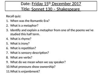Shakespeare's Sonnet 130