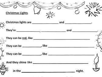 Christmas Lights can be - Ys 2-4 Poem Frame + Example