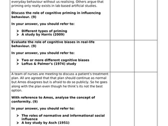 BTEC Applied Psychology: Unit 1 - Psychological approaches (9 mark questions)