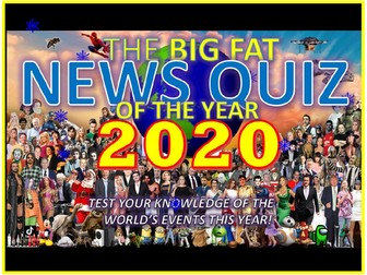 The Big Fat News Quiz of the Year 2020 End of Christmas Term Form Tutor Activity Cover Lesson