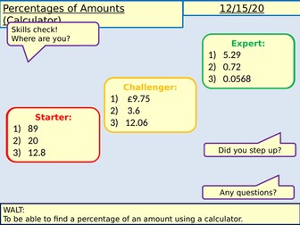 Percentages of Amounts Lessons