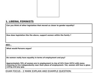 Feminism and the Family - AQA A level Sociology