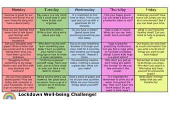 Lockdown Well-being Challenge