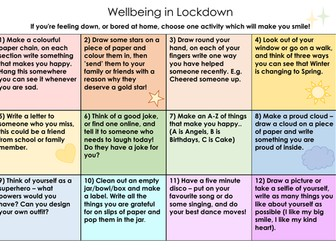 Wellbeing Home Learning Grid