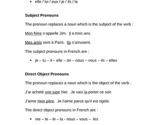 Pronouns in French - an overview