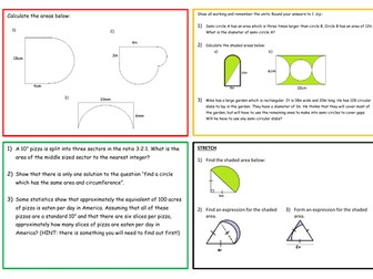 Area of Circle Lessons