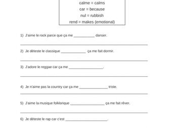 La musique - opinions of types of music