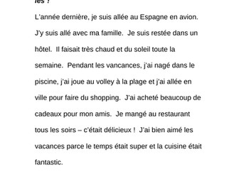 Mes vacances - Find the errors