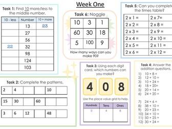 Maths Challenge Sheets (Autumn Term)