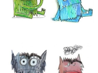 The Color Monster Characters feeling puppets