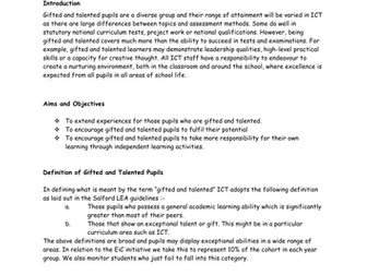 Gifted and Talented policy ICT