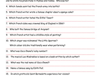 'Famous French People' Investigation Sheet