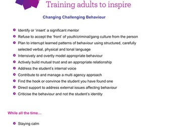 Changing Challenging Behaviour