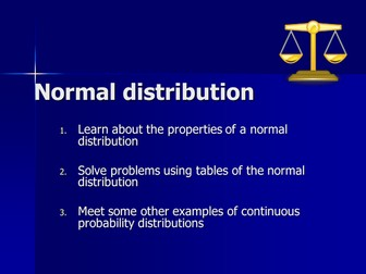 Statistics 1 Normal Distribution