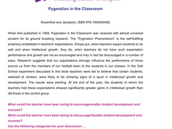 Pygmalion in the Classroom - Teacher Expectations