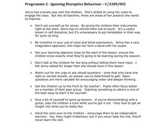Teachers TV: Ignoring Disruptive Behaviour