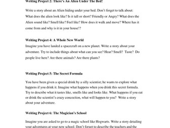 Different ideas for creative writing activities