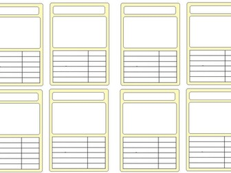 Completely blank template for top trumps