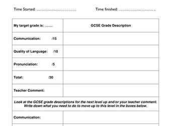 GCSE Languages Pupil Mark Scheme/Progress Sheets