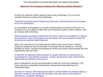 ADD-ADHD - Treatment Options