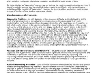 ADHD Linked Disorders - Dysgraphia