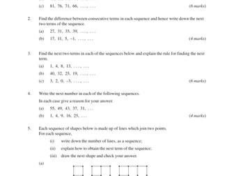 Number Patterns (MEP – GCSE) lesson , worksheet