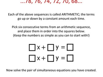 Arithmetic Simultaneous Equations Lesson