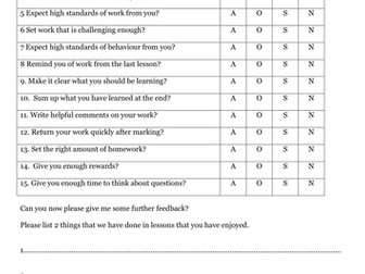 Student science questionnaire KS3 and KS4