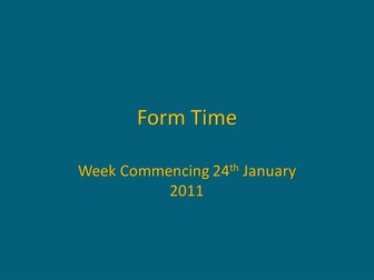 Activities for registration, form time, tutor time