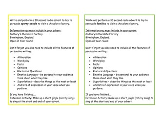 Persuasive writing activity cards, Adverts