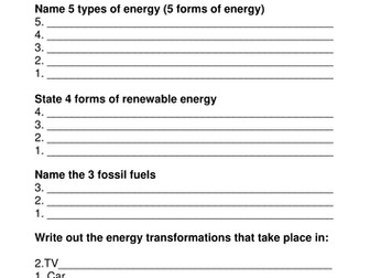 Direct And Indirect Proportion Worksheet Excel Energy Worksheet  Starter Activity By Klawrie  Homologous And Analogous Structures Worksheet with Division Word Problem Worksheets Energy Worksheet  Starter Activity By Klawrie  Teaching  Resources  Tes Prime Factorization Worksheets