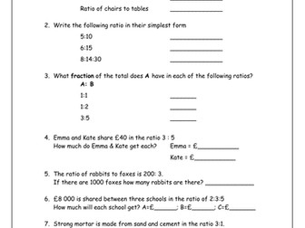 KS3 Maths  Worksheets: Ratio & Proportion