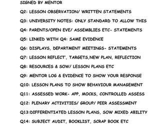 WHAT TO INCLUDE IN QTS EVIDENCE FOLDER