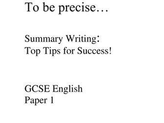 Revision Worksheet: How to Write a Summary
