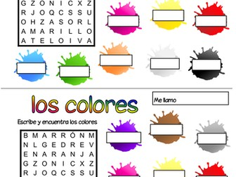 Spanish colours wordsearch
