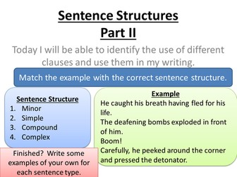 Sentence Structures & Punctuation lessons