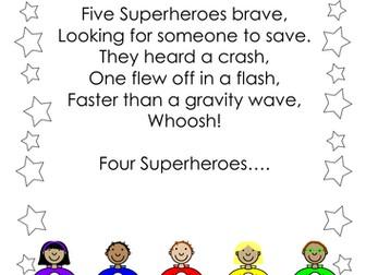 Five Superheroes Number Rhymes