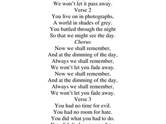 A Song for Remembrance Day