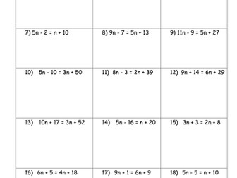 Solving Equations Worksheets by mrbuckton4maths - Teaching Resources ...