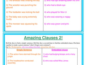 Amazing clauses sentence game - embedded, nouns