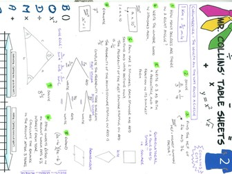 Mr. Collins' Maths Table Sheets - Collins City 2